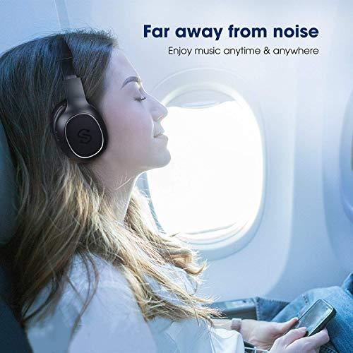 SoundPEATS Bluetooth Kopfhörer Over Ear Kopfhörer 20 Stunden Spieldauer kabellos & 3,5-mm-Audioeingang on Ear Headset Kabelgebundene Kopfhörer Bass Stereo Mikrofon Kompatibel für Samsung/iPhone/Huawei - 6