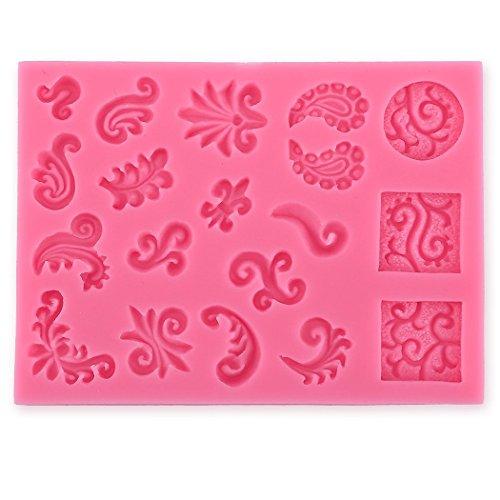 Karen Baking Grenze Carving Motiv Silikon-verzierender Schokoladen-Kuchen-Form-Fondant-backendes Werkzeug-Rosa