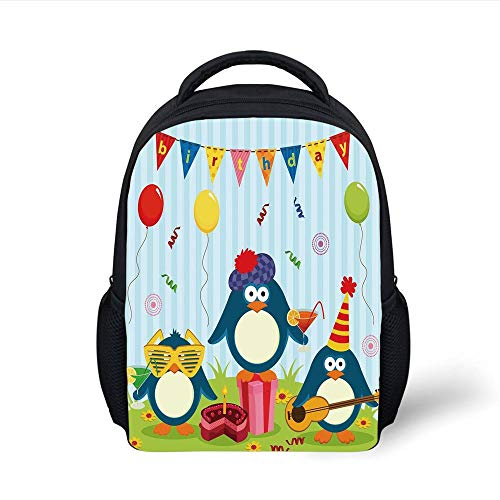 Kids School Backpack Birthday Decorations for Kids,Cartoon Penguin Party with Flags Cakes and Box,Light Blue and Fern Green Plain Bookbag Travel Daypack - Big 3x5 Flag