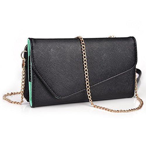 Kroo d'embrayage portefeuille avec dragonne et sangle bandoulière pour ZTE Nubia Z7 Black and Orange Black and Green