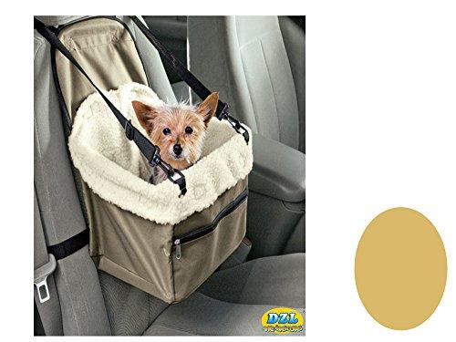 DZL® - Trasportino da auto per schienale di sedile, progettato per animali domestici, cani e gatti, con imbracatura di sicurezza e interno morbido - colore: verde