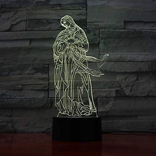 Veilleuse 3D 3D Virgin Mary Styling Led Lampe De Table Décoration Visuelle Usb 7 Changement De Couleur Bébé Chambre Chevet Sommeil Nuit Lumière Cadeau