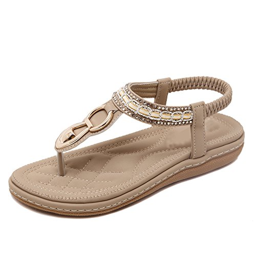 Da donna Scarpe sandalo flip-flop Di Fibbie in metallo Pietre del Strass Bohemia albicocca