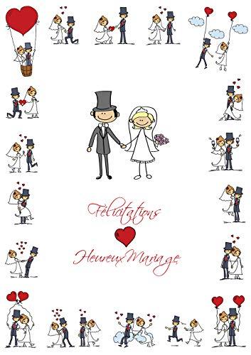 Lustige Grußkarte zur Hochzeit in französischer Sprache im Format XXL/DIN A 4 (29 x 21 cm) mit Umschlag von COLIBRI (10686 FR)