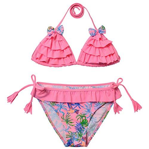 Perfashion Mädchen zweiteiler 5tlg Neckholder Blumenmuster Sommer Tankini Set Top mit Slip Bade Set Rosa 164