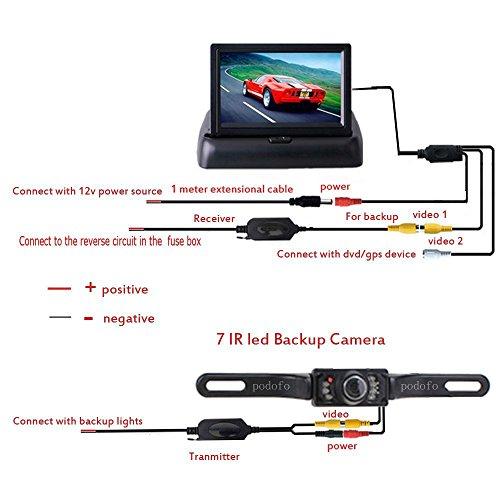 Rückfahrkamera Podofo® 4.3″ Faltbarer Drahtloser Auto Rückansicht TFT LCD Monitor mit wasserdichter Nachtsicht Parken Rückfahrkamera Installationssatz - 8