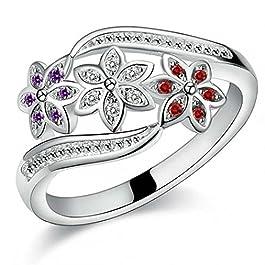 anello con pietra topa-blu Elegante anello con zircone smeraldo 2 pezzi anelli pop europei e americani
