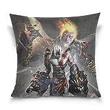 Near God of War Kratos Cotton Velvet Soft Decorative Square Pillowcase Cushion Cushion Pillowcase Home Decoration Sofa Sofa Bed Chair Fundas para Almohada (45cmx45cm)