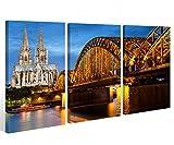 Leinwand Köln 3 tlg. Kölner Dom City Skyline Stadt Cologne Bilder Wandbild 9A531 Holz-fertig gerahmt -direkt Hersteller, 3 tlg BxH:120x80cm (3Stk 40x 80cm)