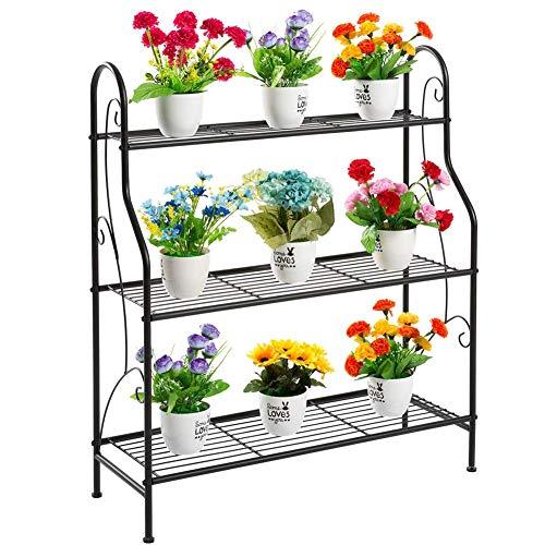 CATRP Blumentreppe Mit 3 Ebenen Innen Metall Standregal Pflanzenregal Multifunktion Lagerregal Dekoration Gartenregal