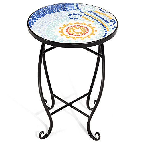 Costway Mosaic Table  Plant Flower Stand  Round Side Table with 4 Patterns in, 36 CM for Balcony, Bistro, Terrace, Living Room, Conservatory, Garden, Outdoor, Gift (Sun)