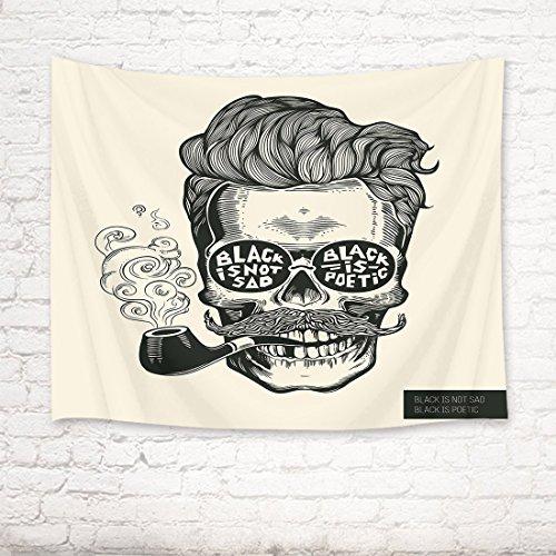 EOB Tapisserie Wandbehang,Hipster Schädel Silhouette mit Schnurrbart, Bart, Tabakpfeifen und Gläser Kunstdruck-Tapisserie-Hauptdekoration für Schlafzimmer-Wohnzimmer-Schlafsaal,200X150cm (Glas-rand Beendet)