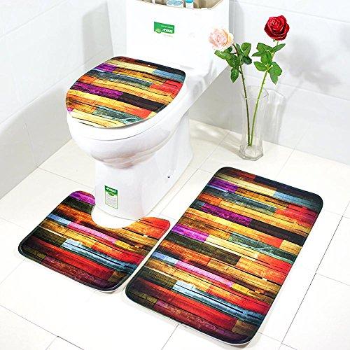 Demiawaking 3pcs/set tappetino da bagno antiscivolo stampati tappetino per copertura coperchio wc decorazione per toilette bagno (02)