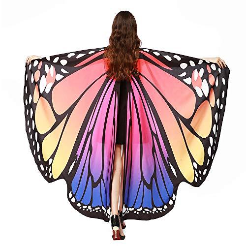 Kostüm Nur Erwachsene Für - SERWOO Damen Schmetterling Kostüm Schmetterling Schal Flügel Tuch Schmetterlingsflügel Erwachsene Poncho Umhang für Party Weihnachten Kostüm Cosplay Karneval Fasching(168 * 135cm)