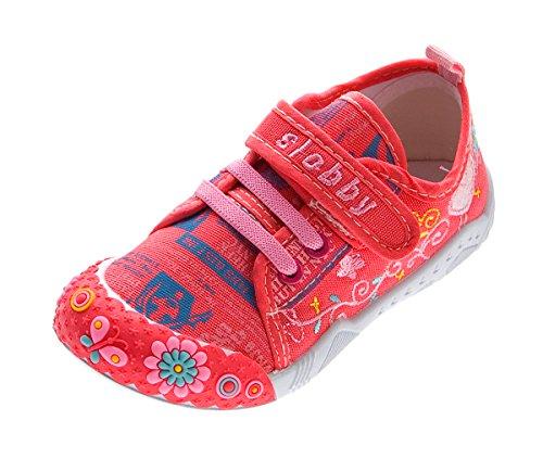 5d5d638e776d8f Slobby Kinder Leinen Schuhe Jungen Mädchen Stoff Hausschuhe Klettverschluss  Koralle Kita Halbschuhe Gr. 30