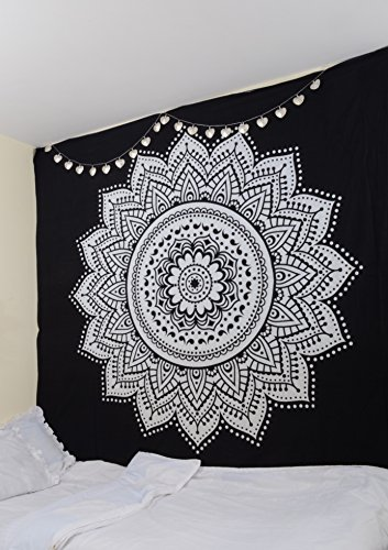 noir-blanc-mur-tapisserie-suspendue-par-rawyalcrafts-100-coton-indien-mandala-tapisserie-boheme-deco