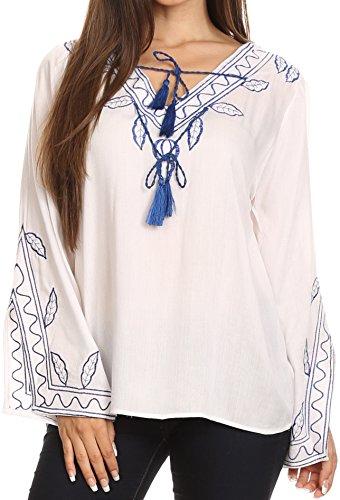Sakkas 57140 - Kile Campana Maniche lunghe ricamato nappa V cravatta larga camicetta Top - Bianco - L / XL