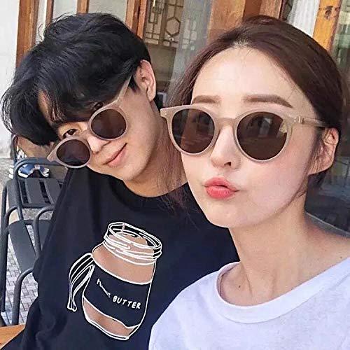 BHLTG Sonnenbrille Dame Persönlichkeit Retro runden Rahmen Sonnenbrille net rot Milch Tee Farbe Kästchen weiblichen Sonnenschutz Polarisator-8 -
