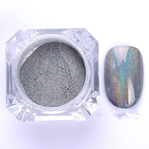 Neue 1g / Box Holographic Laser Pulver Nagel Funkeln Regenbogen Pigment Maniküre Chrome Pigments (Wo Regenbogen De)