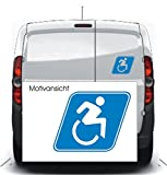 Autoaufkleber - Rollstuhlfahrer - Hinweis - Gebotszeichen (100 mm x 80 mm, Weiß)