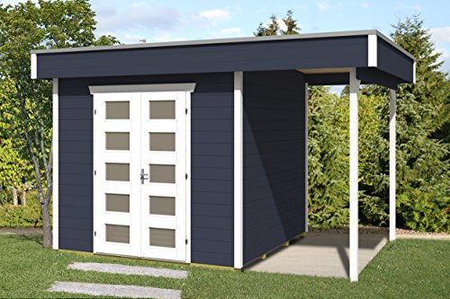 SKAN HOLZ Flachdachhaus, Venlo 2, 28 mm, Gartenhäuser, schiefergrau, 250 x 380 x 255 cm