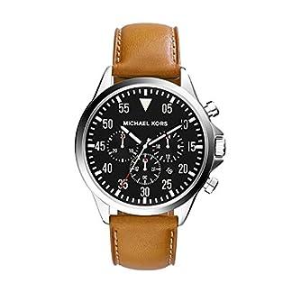 Michael Kors Gage – Reloj análogico de cuarzo con correa de cuero para hombre, color marrón/negro