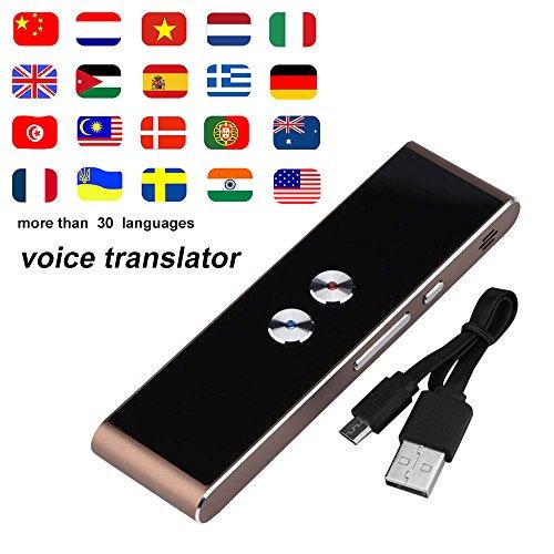 HanDingSM-Stil Übersetzer, tragbare Tasche in Echtzeit, Englisch, Chinesisch, Französisch, Deutsch, japanisch mit Sprachen für Reisen, mit Rahmen braun