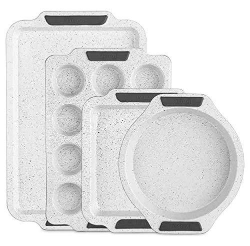 Viking Culinary 4030-9984-CGY Keramikbeschichtetes Backgeschirr-Set, 4-teilig, Weiß -