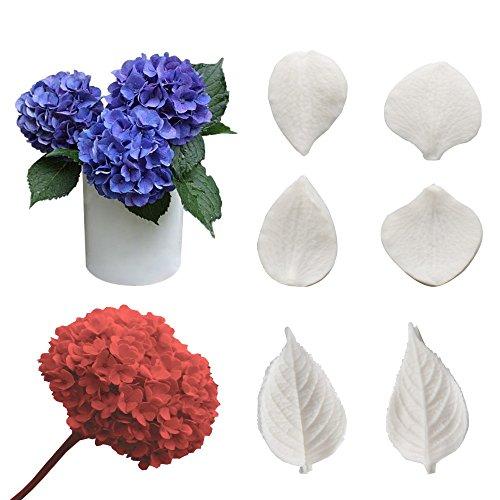 AK Art KITCHENWARE, stampi per pasta di zucchero, per fiori, foglie e petali, per taglio e venature, per decorazione torte Hydrangea