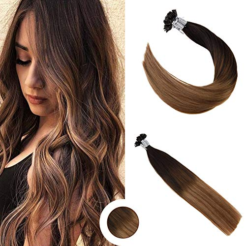 Ugeat 22 Zoll Stick Tip Hair Extensions 1g*strand #1B/4/27 Farbe Off Black mit Dark Brown und Strawberry Blonde Pre Bonded Straight Brazlian Hair Extensions Echthaar