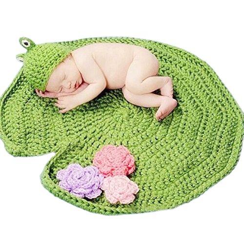 DELEY Baby Jungen Häkeln Stricken Frosch Hut Kostüm Lotus Blatt Decke Newborn Foto Requisiten 0-6 Monate