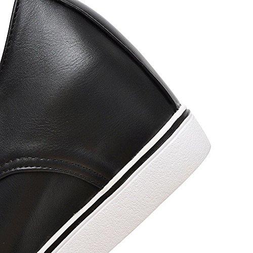VogueZone009 Damen Rund Zehe Mittler Absatz Weiches Material Rein Schnüren Pumps Schuhe Schwarz
