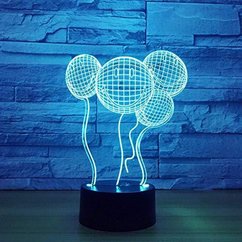 (Lächelndes Gesicht Ballon 3D Nachtlicht Schalter 7 Farbwechsel Baby Schlafen Licht Hochzeitsfeier Atmosphäre Lampe Drop Shipping-Berühren Sie)