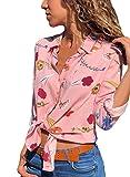 Aleumdr Damen Blusen Chiffon Langarm Causal Sommer Tunika mit Knopf Vorne V-Ausschnitt Oberteile T-Shirt Frauen Hemdbluse Rosa XXL