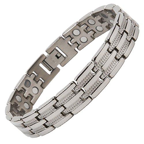 North South T23poliert Silber zweireihig Titanium Link-Armband mit GRATIS Luxus Geschenkbox und Demontagewerkzeug