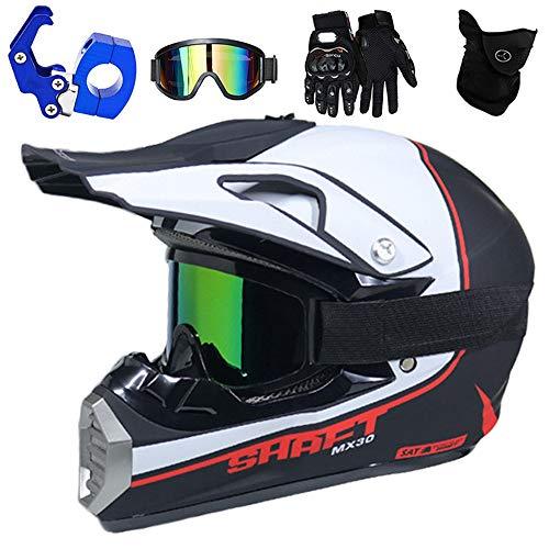 QYTK® Full Face MTB Helm, Motocross Cross Helm für Enduro Downhill MX Mountainbike ATV Junge Motorradhelm Zubehör mit Brille Maske Handschuhe Helmhaken,Helle Weiße Blau,L(56~57CM)