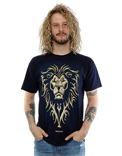 Warcraft Uomo Alliance Emblem Maglietta Large blu scuro