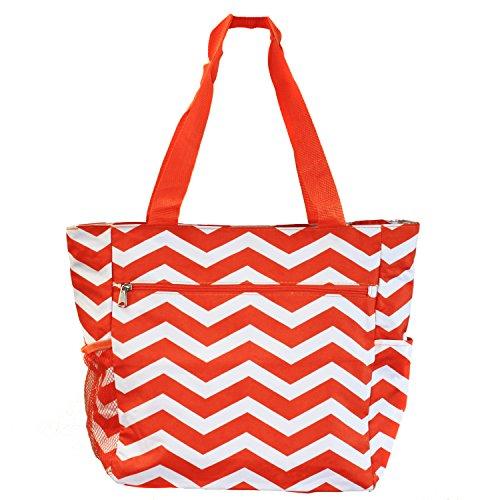 world-traveler-135-inch-beach-bag-orange-white-chevron-one-size