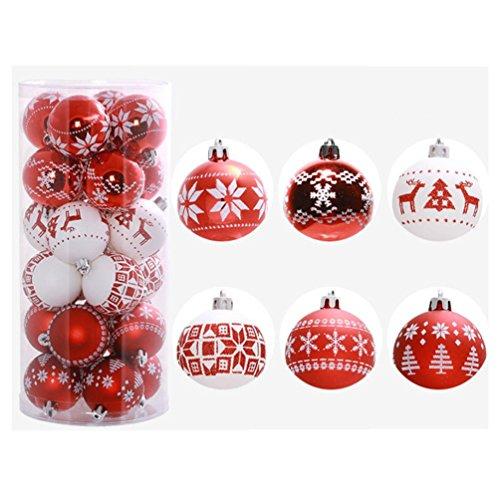 Christmas Bolas de navidad - koly 24 piezas XMAS bolas brillas elegant