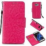 BoxTii Galaxy S7 Edge Hülle, Standfunktion PU Leder Etui mit [Frei Panzerglas Displayschutzfolie] [Kartenfach] für Samsung Galaxy S7 Edge (Rose Rot)