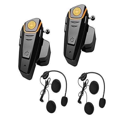 Gzcrdz 2x 800m resistente all' acqua Bluetooth motocicletta casco citofono auricolare per 2o 3piloti e audio da 2.5mm per walkie-talkie MP3player GPS-vivavoce & FM radio