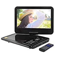 APEMAN 10.5'' Portable Mobile Mini Car CD DVD Player for kids and Travailing with Remote Control Swivel Screen Rechargeable Battery USB SD Card Reader