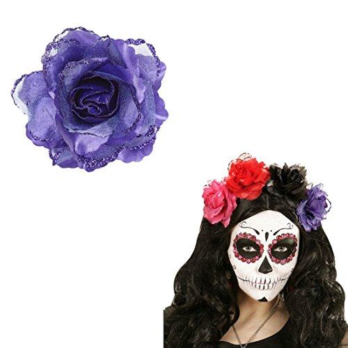 e Rose Rosen Haarschmuck lila Rosenblüte Haarspange Blumen Haarblüte Kopfschmuck Haarblume Blumenspange Haar Clip ()
