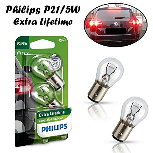2x Philips EcoVision P21/5W 12V BAY15d 12499LLECOB2 Extra Lifetime Weiß High Tech Ersatz Halogen Birne für Parklicht Rückfahrlicht Bremslicht Hecklicht Blinker E-geprüft