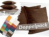 Kissenhüllen in Wildleder-Optik - Angenehm Weich & überaus Robust - in 21 Fantastischen Farben und 3 Größen (14 Farben in 60 x 60 cm), Doppelpack Kissenhüllen 40 x 40 cm, Schokoladenbraun
