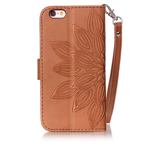 iPhone 6 Custodia Sottile, toyym iPhone 7 PU Custodia in pelle per carte di credito e contanti], Pretty fiore 3d Acchiappasogni Pressed Pattern Custodia a portafoglio Flip Chiusura Magnetica Book Desi Brown Flower