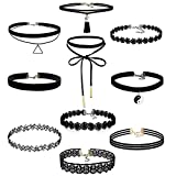 Gothic Choker, Rcool 10PC Retro Stretch Tattoo Lace Necklace Black