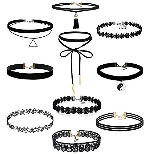 Women Necklaces, Rcool Fashion Women Girl Choker Necklace Set Stretch Velvet Classic Gothic Tattoo Lace Chokers Pendants (10pcs)