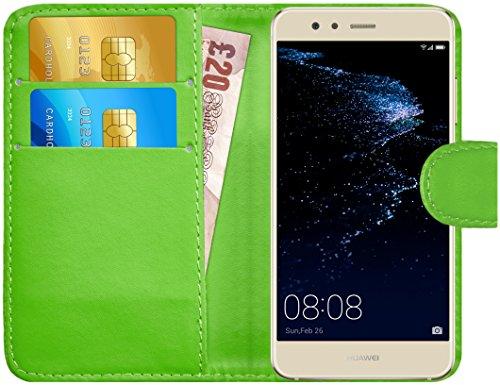 Huawei P10 Lite Hülle Leder Klapphülle mit Kartenfach G-Shield Schutzhülle Tasche Flip Case Cover Etui Handyhülle für Huawei P10 Lite mit Displayschutzfolie und Stylus-Stift - Grün (Stylus-grün)