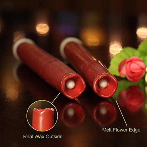 Geben U Stabkerzen LED Spitzkerzen mit Timer Led Flammenlos Kerzen Echtwachs, 30,5 cm, rot, 2 Stück, Hauptdekoration für Weihnachten Hochzeit Valentinstag - 2
